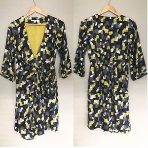 Boden Geometric Square Viscose Silk Wrap Dress